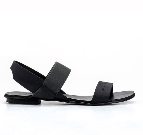 Black Leather Sandals / Open Toe Flat Shoes / Comfortable Shoes / Every Day Shoes / Ankle strap Shoes / Straps Sandals / Women Shoes - Olly