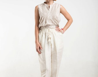 cream silk pants with pockets, gathered waist and tassels, Free Shipping!