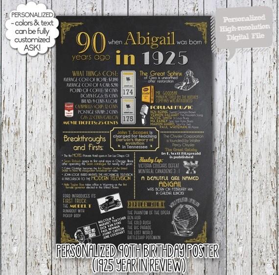Personalized 90th Birthday Poster 1925 Digital Chalkboard