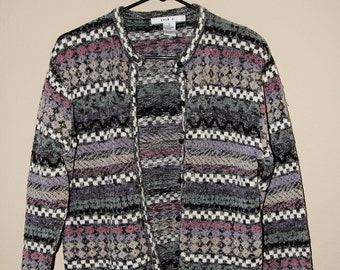 Vtg 1990s Cardigan Sweater Funky Striped Multi Design Checkered Button Up