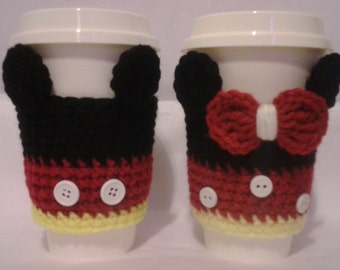 Crochet Mickey Mouse and Minnie Mouse Cozy Cups