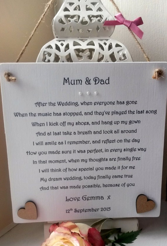 Wedding Gift For Dad From Son : Mum and Dad Wedding gift from Bride personalised, Mother and Father ...
