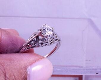 Ring,18k white gold filagree . 1/3ct Euro Cut Diamond
