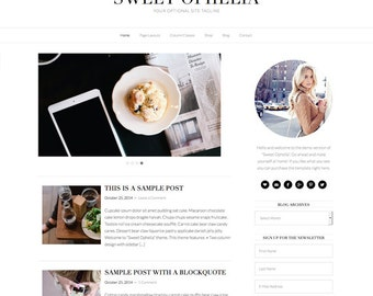 "Premade Wordpress Theme ""Ophelia"" - Responsive Self-Hosted Wordpress Blog Design"