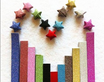 Flash shine Origami Star Paper Kit Rainbow paper Strips Lucky Wishing Star paper strips one bag 20 pcs strips DIY Valentine gift
