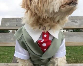 Complete Custom Dog Wedding Vest Tuxedo with Detachable Ring Pillow