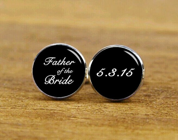 father of the bride cufflinks, custom your photo or date, custom wedding cufflink, father's gifts, round square cufflinks, tie clip or set