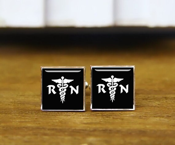 RN nurses medical symbol cufflinks, caduceus cuff links, medical gifts, custom wedding cufflinks, round, square cufflinks, tie clips, or set