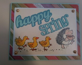 Hedgehog and Chick Easter Card