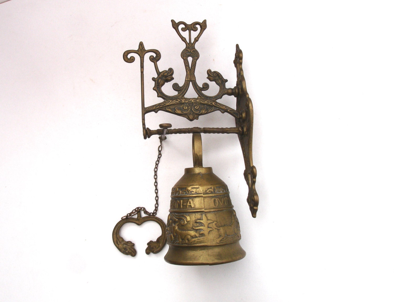 Large Vintage Brass Door Bell With Pull Chain Vintage Brass