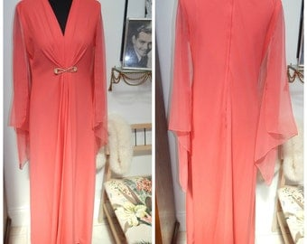 60's Grecian Goddess Coral Butterfly Chiffon Maxi Dress Sz Large XL