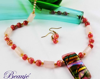 Pink Necklace- Jewellery-Semi Precious-Gemstone-Necklace & Earrings-Handmade-Beauje-Designer-Jewelry-Dichroic