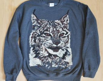 Jeri's Lynx - Brand New Gray HAND DRAWN Screen Print Sweatshirt