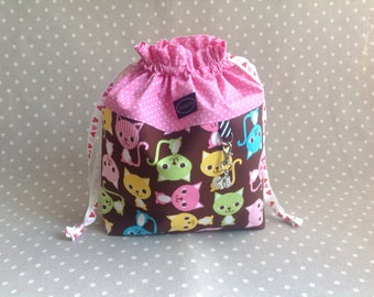 Pink and brown cat drawstring project bag for knitting and crochet small organizer pouch for kids gift idea for knitter or crocheter