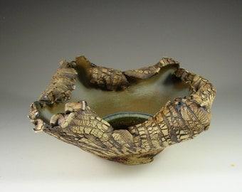 "Organic Ceramic Art – ""Forest Rain Puddle""   – Handmade Centerpiece – Wheel Thrown Stoneware Art – Unique Sculpture Pottery - Ships Today"