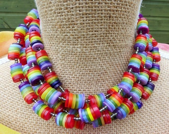 Handcrafted Rainbow Button Cluster Necklace