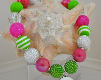 Pink & green chunky necklace. Girls birthday pendant necklace. Photo prop. Birthday party favors. Preppy princess chunky gumball necklace
