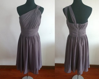 Grey Bridesmaid dress/knee-length/one-shoulder/wedding/party/homecoming short chiffon dress wedding dress short bridesmaid dress
