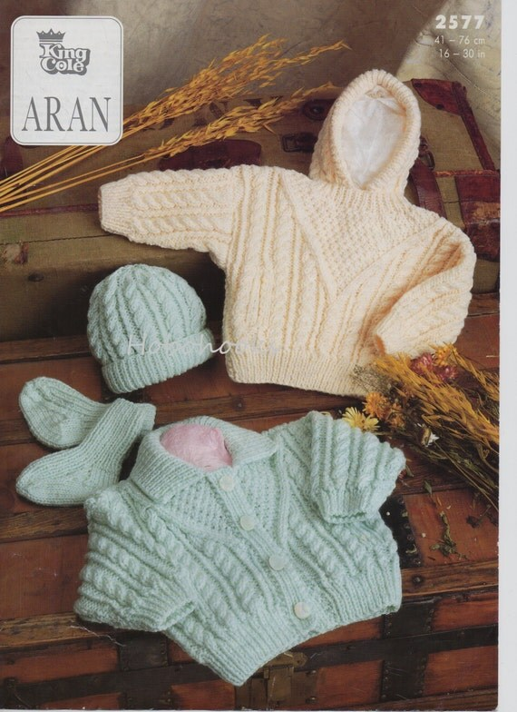 Baby childs childrens aran cardigan aran sweater with hood hat