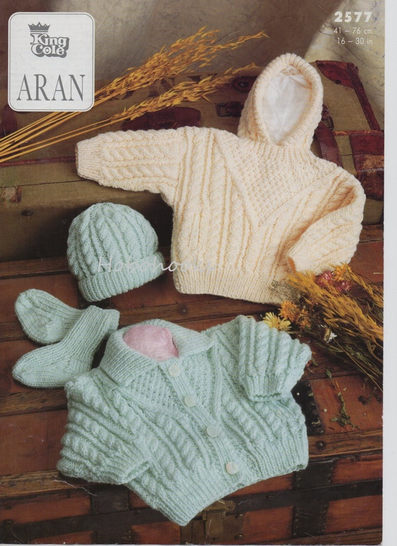 Childs Aran Jumper Knitting Pattern : Baby childs childrens aran cardigan aran sweater with hood hat