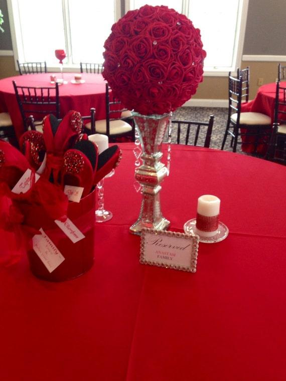 Red flower ball with diamond rhinestone gems wedding
