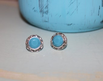 Turquoise Crystal Post Earrings 13mm Chaton