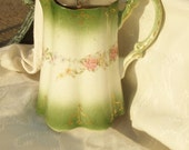 Antique Ridgway water jug, Royal semi-porcelain, floral, green, rare lidded water jug