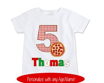 Pizza Birthday Shirt, kids custom name, Italian Custom pizza party birthday theme, pizza birthday party shirt, Pizza party t shirt (EX 339)