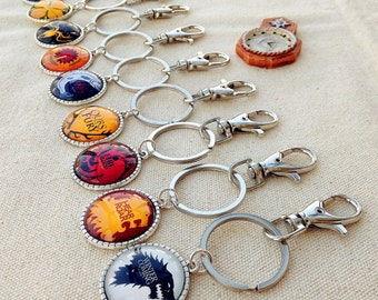 Game Of Thrones Houses keychain , A song of ice and fire keychains , House Stark keychain , House Targaryen keychain , Houses keychain