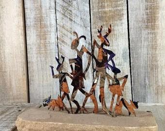 Tribal Metal Art - Tribal art statue - Tribal home decor - african art statue - african art statues - model home decor - home decor metal