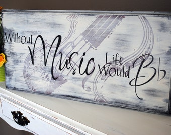 Without Music Life Would Be Flat Wall Art | Without Music Life Would Bb Wall Art | Wood sign | Music Teacher Gift