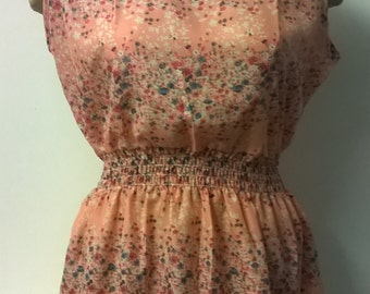 Vintage style Summer Floral Dress, Flower Dress, Beech, Holiday, Sleeveless Dress, Pink Dress, Womens Dress