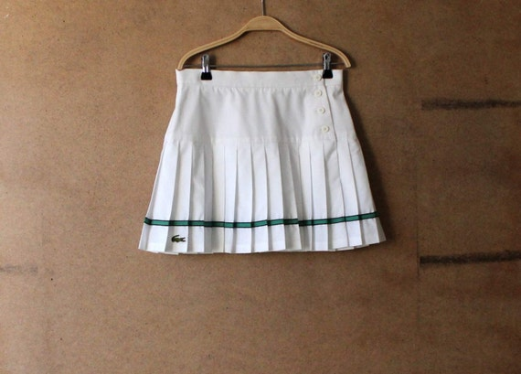 lacoste white accordion pleated skirt mini skirt made in