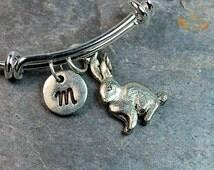Rabbit Initial Bangle, Rabbit Charm bangle, Expandable bangle, Personalized bracelet, Monogram, stamped bracelet