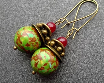Earrings green Mosaic turquoise Howlite, agate. summer earrings. Earrings Dangle. sister gift earrings. girlfriend earrings gift. for you.