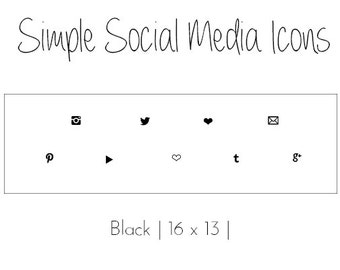 Simple Social Media Icons // Black // Small Social Media Icons