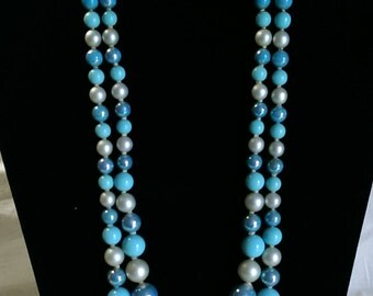 Vintage Blue and White Necklace and Clip On Earring Set