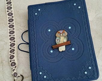 Embellished Handmade Blue Leather Journal