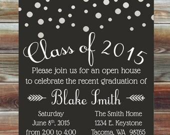 Custom Color Graduation Open House Invitation - Champagne Grad Party Invite - College High School Grad Party - Bubbles Graduation Invitation
