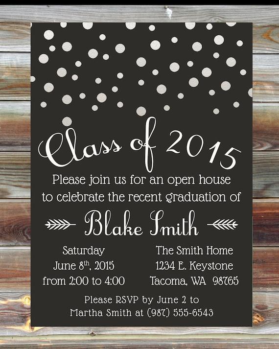 Graduation Party Invitation Custom Color Graduation Open – High School Graduation Party Invitations