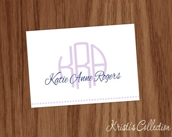 Girls Personalized Note Card Set Folded Notecards - Ladies Girls Personal Stationery Stationary - Circle Monogram with Name Thank You Notes