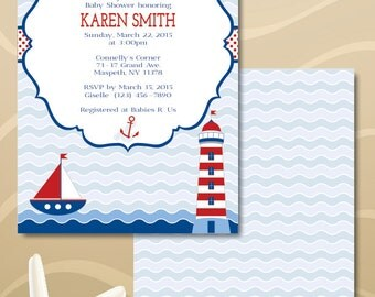 Nautical Baby Boy Shower Invitation