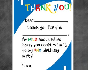 UNO Birthday Thank You - UNO Thank You Note - DIY Printable File