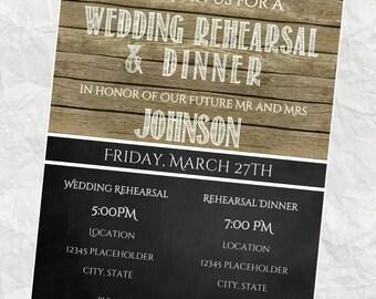 Rehearsal Dinner Invitation, Rehearsal Dinner Invite, Rustic Chalkboard Wedding, DIY Printable Rehearsal Dinner Invite