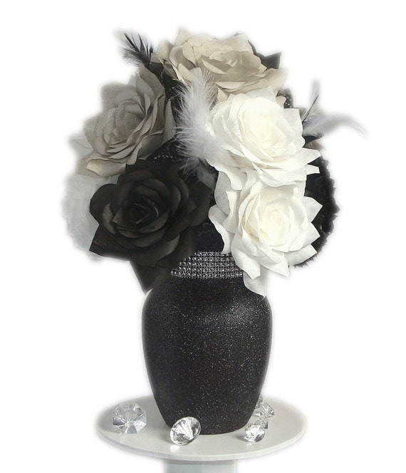 Items similar to black and white floral arrangement