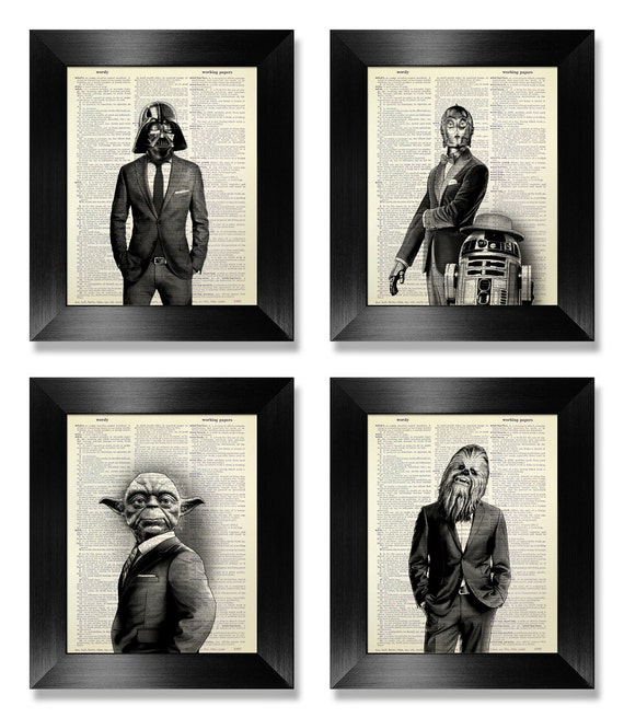star wars poster set of 4 prints set anniversary gift for man. Black Bedroom Furniture Sets. Home Design Ideas