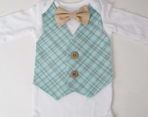 Boys Easter Suit Light Teal Plaid Vest Tan Bow tie - Newborn, Baby Toddler, Boy Bodysuit Suit with Bowtie oufit, First Birthday, Wedding