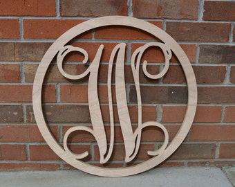 24 inch wooden circle monogram letter wooden monogram letters home decor weddings nursery letters ready to be painted