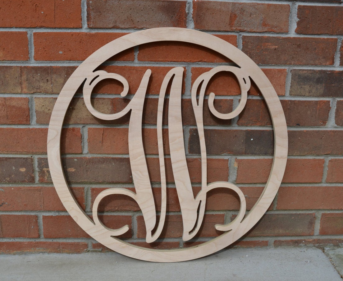 24 Inch Wooden Circle Monogram Letter Wooden Monogram