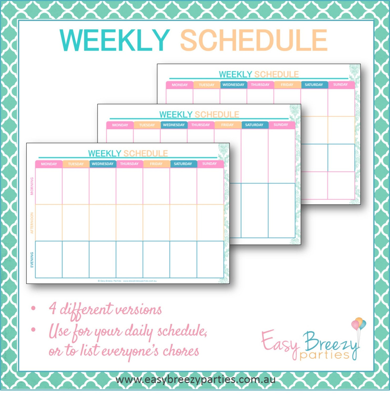 timetable weekly schedule printable weekly timetable planner family chore chart instant digital